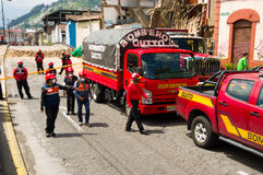 Quito, Ecuador - December 09, 2016: Fire car and fire truck parking in the paved streetss of Quito Stock Photos
