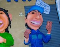 Quito, Ecuador - December 31, 2016: Traditionele monigotes of gevulde modellen die politieke cijfers vertegenwoordigen, anime of Royalty-vrije Stock Afbeelding