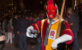 Quito, Ecuador - December 09, 2016: An unidentified people dressed up participating in the Diablada, popular town. Celebrations with people dressed as devil Stock Images