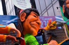 Quito, Ecuador - 31 dicembre 2016: Monigotes tradizionali o manichini farciti che rappresentano le figure politiche, anime o Immagine Stock Libera da Diritti