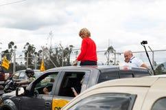 Quito Ecuador - Februari 5, 2017: Cynthia Viteri presidentkandidat för det Partido samkvämCristiano partiet, under Royaltyfri Bild