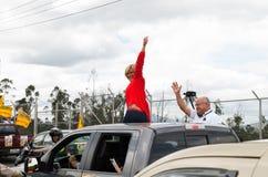Quito Ecuador - Februari 5, 2017: Cynthia Viteri presidentkandidat för det Partido samkvämCristiano partiet, under Arkivbilder