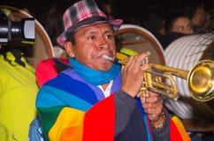 Quito Ecuador - februari 02, 2016: En oidentifierad man som spelar hans instrument under populära stadberömmar Arkivbild