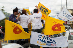 Quito, Ecuador - February 5, 2017: Supporters holding flags during the campaign rally of Cynthia Viteri, presidential. Candidate for the Partido Social Royalty Free Stock Photo