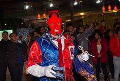 Quito, Ecuador - february 02, 2016: An unidentified people dressed up participating in the Diablada, popular town. Celebrations with people dressed as devils Stock Images