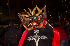 Quito, Ecuador - february 02, 2016: An unidentified people dressed up participating in the Diablada, popular town. Celebrations with people dressed as devils Royalty Free Stock Images