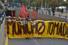 QUITO ECUADOR - JANUARI 28, 2016: Ett oidentifierat folk i quito Ecuador, marschpersoner som protesterar i en anti-bullfightting  Arkivfoto