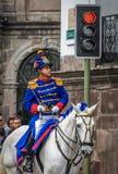QUITO, ECUADOR - Januari, 14: Los Granaderos DE Tarqui, guar Royalty-vrije Stock Fotografie