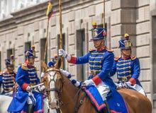 QUITO, ECUADOR - Januari, 14: Los Granaderos DE Tarqui, guar Royalty-vrije Stock Afbeeldingen