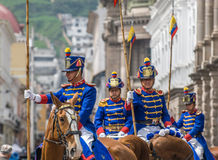 QUITO ECUADOR - Januari, 14: Los Granaderos de Tarqui, guaren Royaltyfri Foto