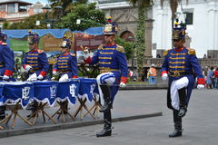 QUITO, ECUADOR - JANUARY 28, 2016: An unidentified guards in march during the change of turn of the Presidential Palace Stock Image