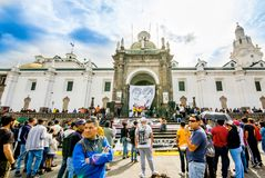 QUITO, ECUADOR, JANUARY 11, 2018: Unidentified people during a protest in the plaza grande in the city of Quito. Demanding for an explanation of their stock photography