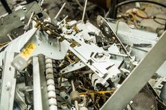 Quito, Ecuador, July, 10, 2017: Close up of a small computer parts for electronic recycling Royalty Free Stock Photos