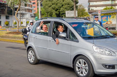 QUITO, ECUADOR - JULY 7, 2015: Grey little car transporting pope Francisco and his body guards, Ecuador visit Stock Images