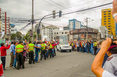 QUITO, ECUADOR - JULY 7, 2015: Nice and emotional moment, people saying welcome to pope Francisco in Ecuador, popemobile Royalty Free Stock Photos