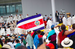 QUITO, ECUADOR - JULY 7, 2015: People waiting for pope Francisco mass, Costa Rica persons on Quito. First visit to Royalty Free Stock Image
