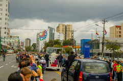 QUITO, ECUADOR - JULY 7, 2015: Pope Fracisco visiting Ecuador, popemobile on Quito streets, view from behind Stock Photos