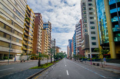 QUITO, ECUADOR - JULY 7, 2015: Republica del Salvador, important avenue of the city, commercial and bussines part.  Stock Image