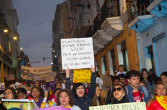 QUITO, ECUADOR- MAY 06, 2017: Crowd of people holding a sign during a protest with the slogan alive we want them Stock Image