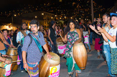 QUITO, ECUADOR- MAY 06, 2017: Group of artist with wooden drums in a protest with the slogan alive we want them, protest Stock Images