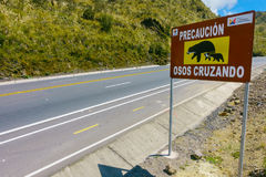 QUITO, ECUADOR - MAY 07, 2014: Informative sign to aware the crossing of bears in Papallacta, in a beautiful landscape Royalty Free Stock Photo
