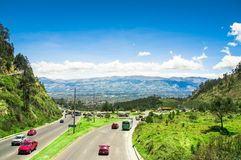 Quito, Ecuador - November 23 2017: Above view of Simon Bolivar highway in the mountains to visit the municipal dump in a Stock Photo