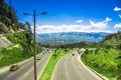 Quito, Ecuador - November 23 2017: Above view of Simon Bolivar highway in the mountains to visit the municipal dump in a Royalty Free Stock Image