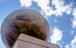 QUITO, ECUADOR - NOVEMBER 12, 2017: Below view of globe monument at the middle of the World, touristic attraction, north stock photography