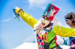 QUITO, ECUADOR- NOVEMBER, 28, 2017: Close up of unidentified happy man wearing a clown costume at a foam party at Quito. Festival Royalty Free Stock Photography