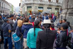 QUITO, ECUADOR NOVEMBER, 28, 2017: Crowd of people walking at historical center of old town Quito in northern Ecuador in. The Andes mountains, Quito is the Royalty Free Stock Images
