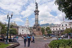 QUITO, ECUADOR - NOVEMBER 25, 2015: Independence Square in Quito stock images
