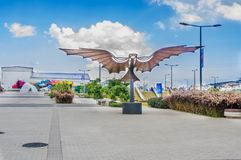 QUITO, ECUADOR- NOVEMBER, 27, 2017: Outdoor view of beautiful metallic wings structure at outdoors in the new boulevar Stock Images