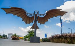 QUITO, ECUADOR- NOVEMBER, 27, 2017: Outdoor view of beautiful metallic wings structure at outdoors in the new boulevar Stock Photos