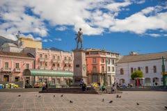 QUITO, ECUADOR - NOVEMBER 23, 2016: Unidentified people walking in historic Plaza de Santo Domingo in old town Quito Royalty Free Stock Image