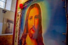 QUITO, ECUADOR - 23 NOVEMBRE 2016: Vista dell'interno del personaggio religioso nella parete, nella vecchia prigione Garcia penal Immagini Stock Libere da Diritti