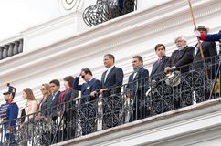 Quito, Ecuador - October 27, 2015: Ecuadorian president Rafael Correa smiling on the balcony of the Presidential palace Royalty Free Stock Photo