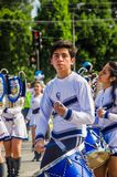 QUITO, ECUADOR - OCTOBER 23, 2017: Group of young school students ready to march in the Quito Festivities` parade Stock Images