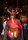 Quito Ekwador, Luty, - 02, 2016: Niezidentyfikowani ludzie ubierali up uczestniczyć w Diablada, popularny miasteczko Zdjęcia Royalty Free