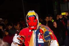 Quito Ekwador, Luty, - 02, 2016: Niezidentyfikowani ludzie ubierali up uczestniczyć w Diablada, popularny miasteczko Obraz Stock