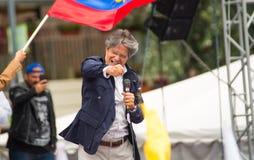 Quito Ekwador, Marzec, - 26, 2017: Guillermo lasso, kandyday na prezydenta CREO SUMA sojusz na scenie podczas, Fotografia Stock