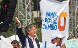 Quito Ekwador, Marzec, - 26, 2017: Guillermo lasso, kandyday na prezydenta CREO SUMA sojusz w jego kampanii wyborczej Obraz Royalty Free
