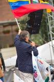 Quito Ekwador, Marzec, - 26, 2017: Guillermo lasso, kandyday na prezydenta CREO SUMA sojusz w jego kampanii wyborczej Zdjęcia Royalty Free
