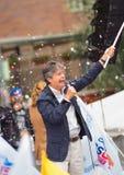Quito Ekwador, Marzec, - 26, 2017: Guillermo lasso, kandyday na prezydenta CREO SUMA sojusz w jego kampanii wyborczej Obrazy Royalty Free