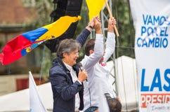 Quito Ekwador, Marzec, - 26, 2017: Guillermo lasso, kandyday na prezydenta CREO SUMA sojusz w jego kampanii wyborczej Fotografia Stock