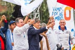 Quito Ekwador, Marzec, - 26, 2017: Guillermo lasso, kandyday na prezydenta CREO SUMA sojusz w jego kampanii wyborczej Zdjęcia Stock