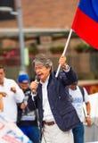 Quito Ekwador, Marzec, - 26, 2017: Guillermo lasso, kandyday na prezydenta CREO SUMA sojusz w jego wybory Obraz Royalty Free