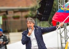 Quito Ekwador, Marzec, - 26, 2017: Guillermo lasso, kandyday na prezydenta CREO SUMA sojusz w jego wybory Zdjęcia Stock
