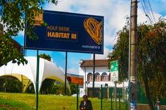 QUITO, EKWADOR -8 PAŹDZIERNIK, 2016: Casa De Los angeles Cultura, miejsce wydarzenia trzeci Narody Zjednoczone siedliska konferen Fotografia Stock