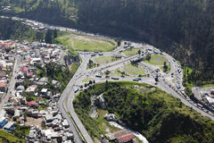 Quito, El Trebol. Aerial view of overpass vehicular traffic called El Trebol Stock Images
