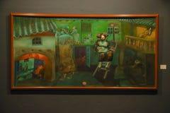 QUITO, EQUADOR - 17 DE AGOSTO DE 2018: Ideia interna do quadro pintado bonito na parede dentro do museu da ágora do EL situado fotografia de stock